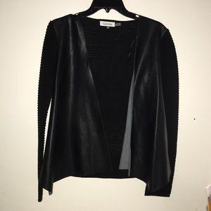 Calvin Klein pleather sweater cardigan Sz XS